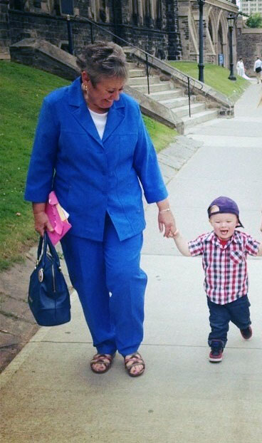 Jean Radley and her grandson Jaxon after her retirement function July 2013